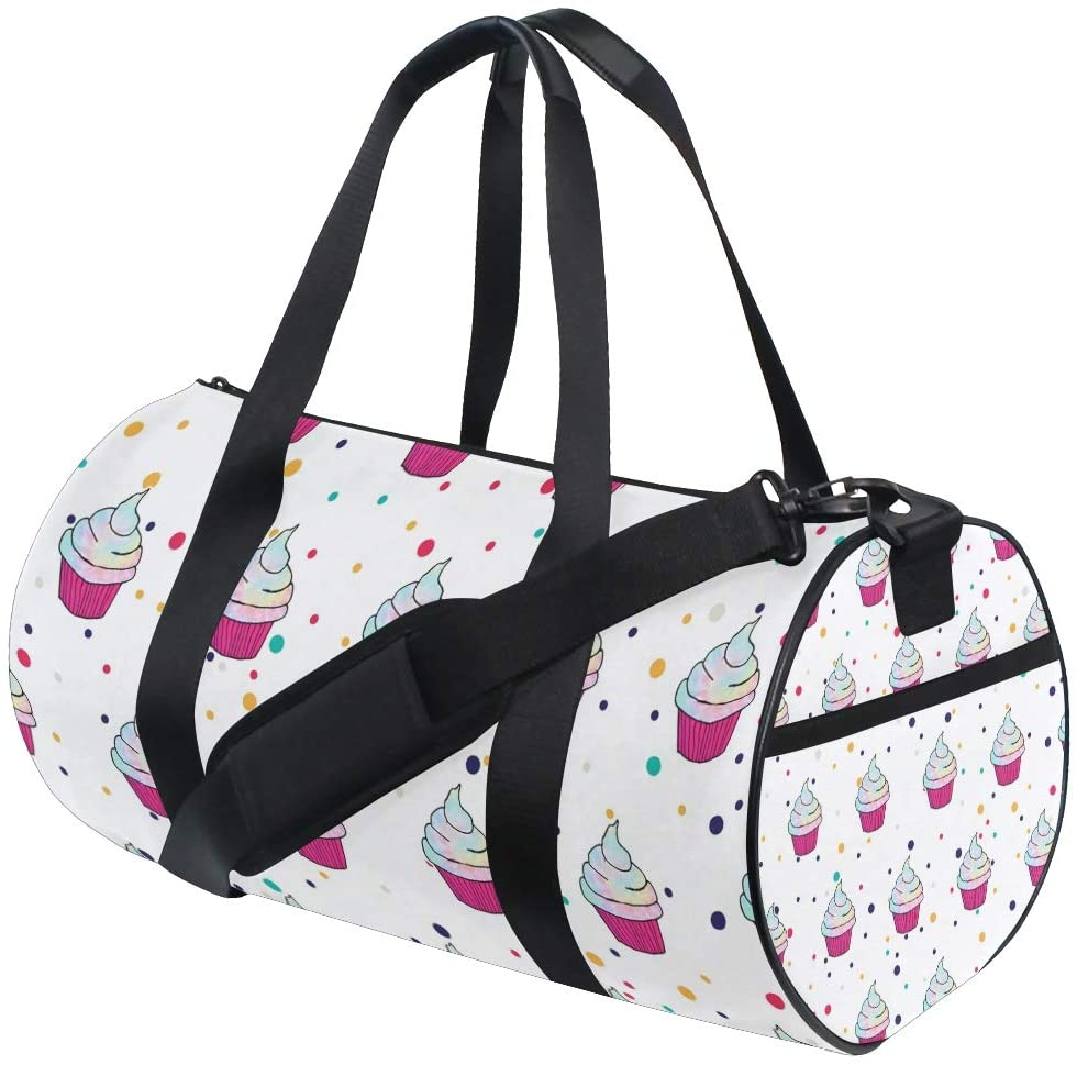 Personalized Rainbow Cupcake Gym Duffel Bag- Training Duffle Bag DKRetro Round Travel Sport Bags for Men Women