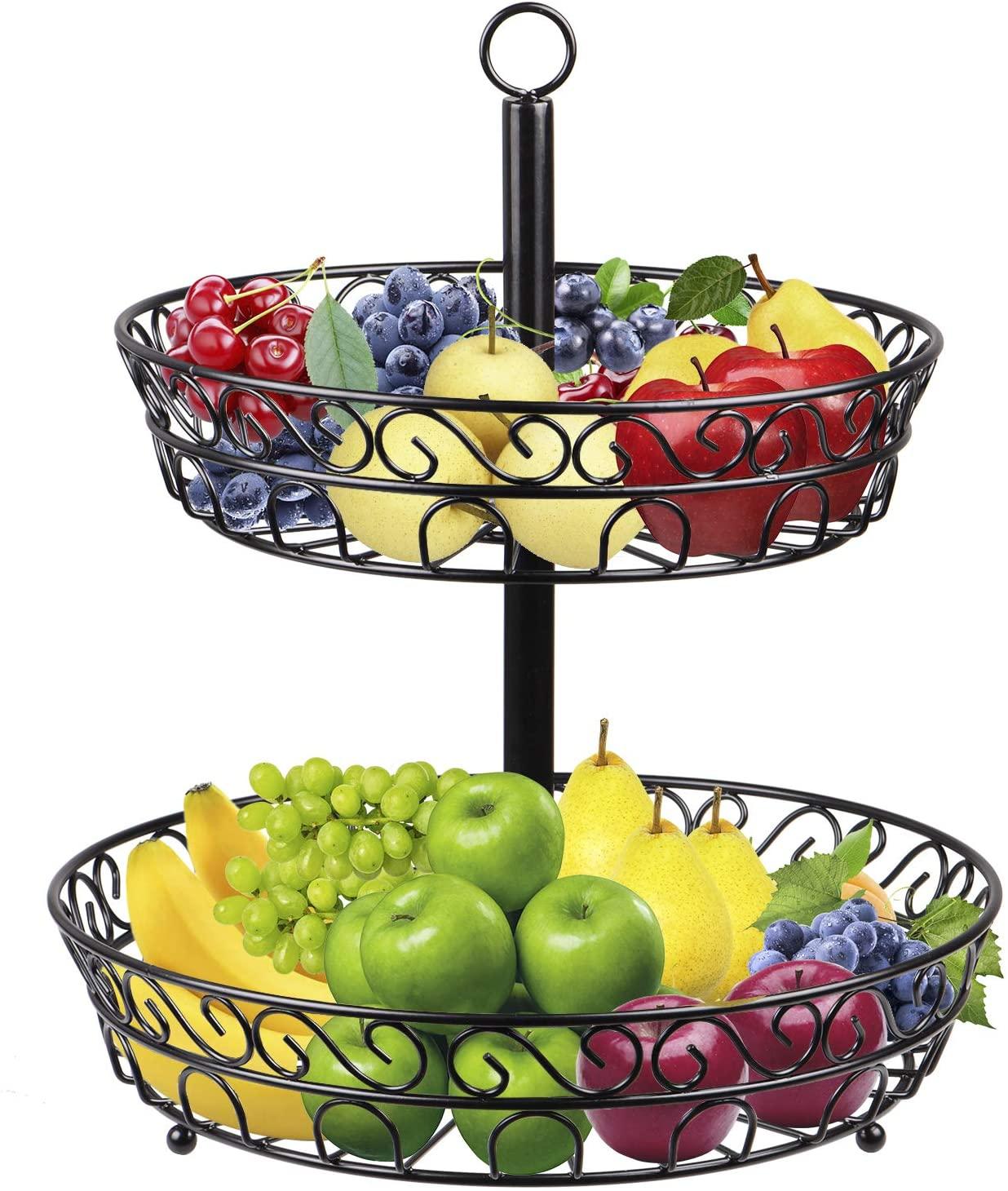 2-Tier Fruit Bowl Basket, STRAWBLEAG Black Modern Design Fruits Vegetables Basket Stand, Metal Wire Basket Organizer Holder for Kitchen Countertop Storage