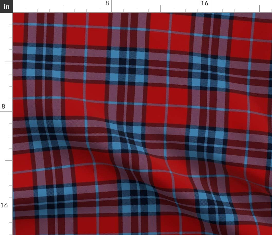 Spoonflower Fabric - Tartan Red Scottish Plaid Printed on Petal Signature Cotton Fabric by The Yard - Sewing Quilting Apparel Crafts Decor