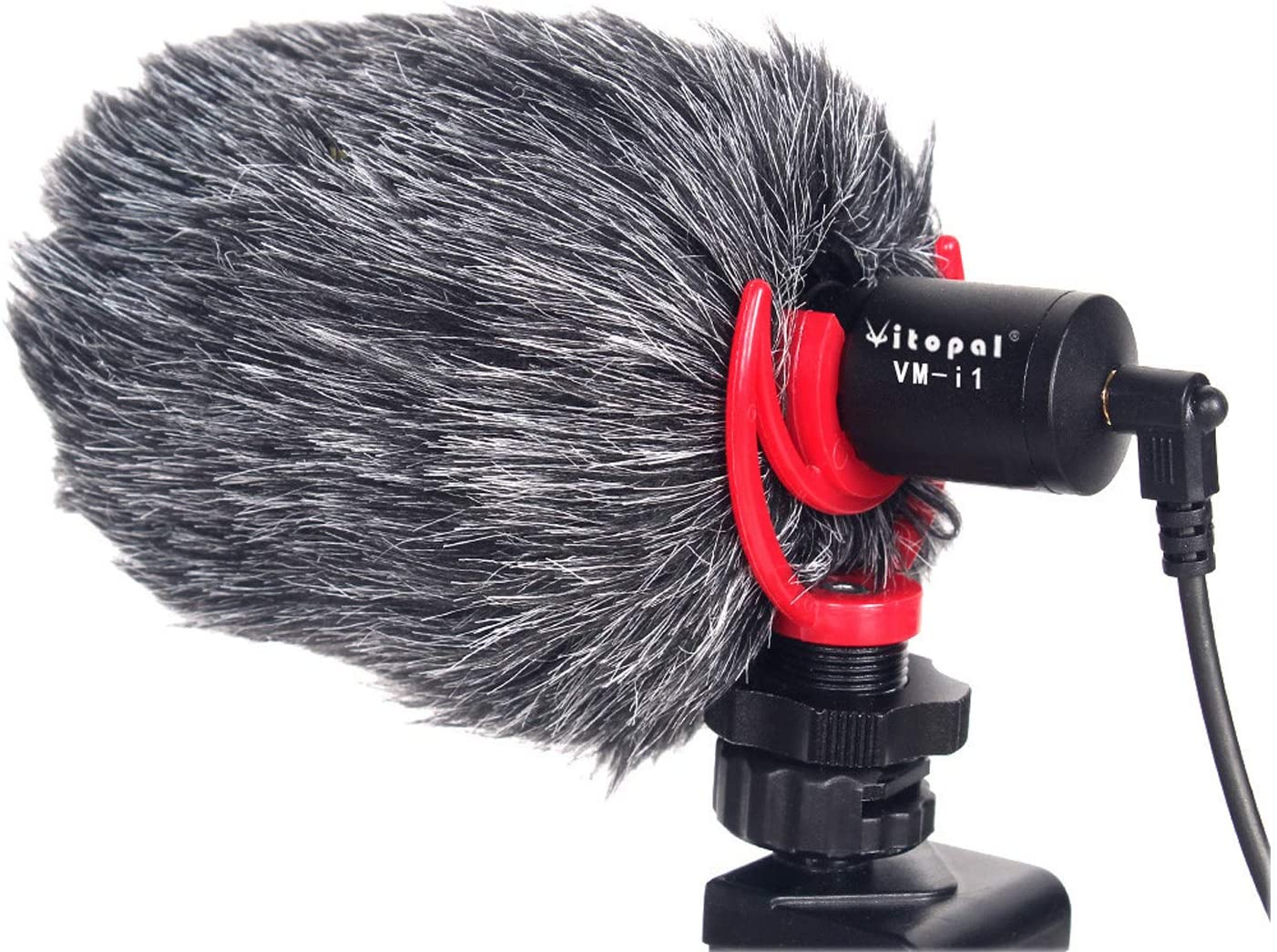 Vitopal VM-i1 Compact On Camera Microphone with Shock Mount, Wind Shield and 3.5mm Cable Compatible with iPhone, Android Smartphones, Tablets, DSLR Camera
