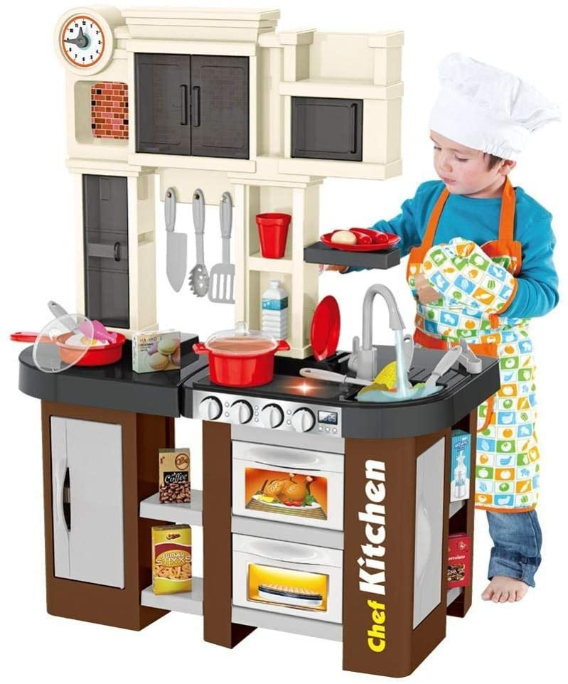 GKDGKD Kids Mini Kitchen Playset, Kitchen Pretend Play Toy with Sound & Lights, Running Water and Small Window, for Toddlers 1-3 Boys and Girls (Multicolour)