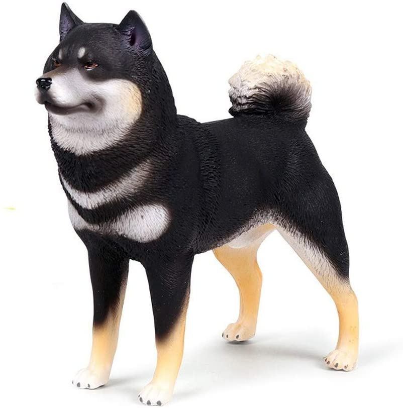 MODEBESO Realistic Animal Figures,Shiba Inu Figurines,6.8inch Large Size,Hand Painting Dog Figures,Educational Toy,Cake Toppers Christmas Birthday Gift for Kids Todllers (Black)