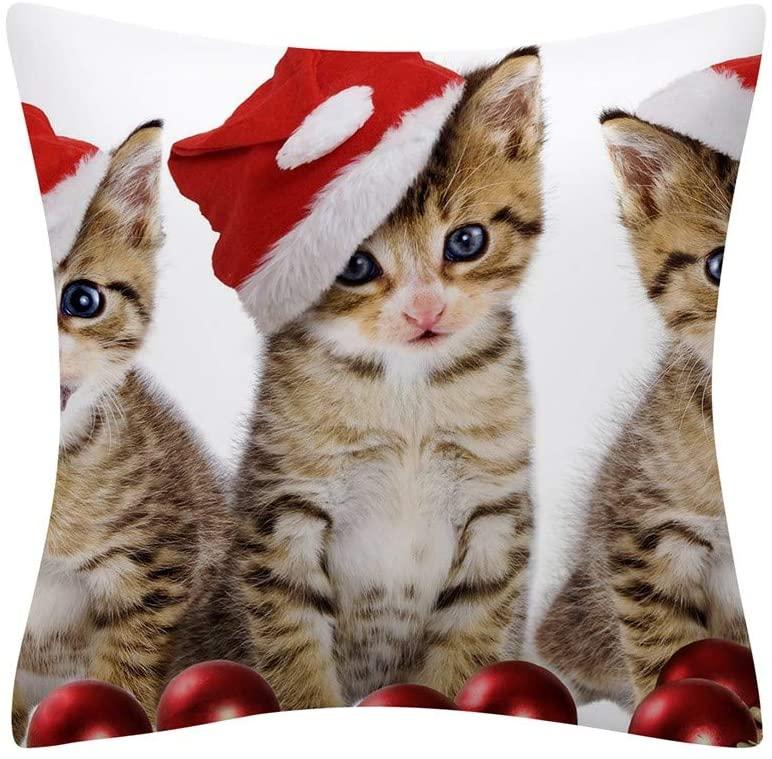 Merry Christmas Throw Pillow Covers Christmas Animal Print Decorative Home Pillow Cases Cotton Linen Xmas Pillowcase for Home Décor - 18x18 Inch