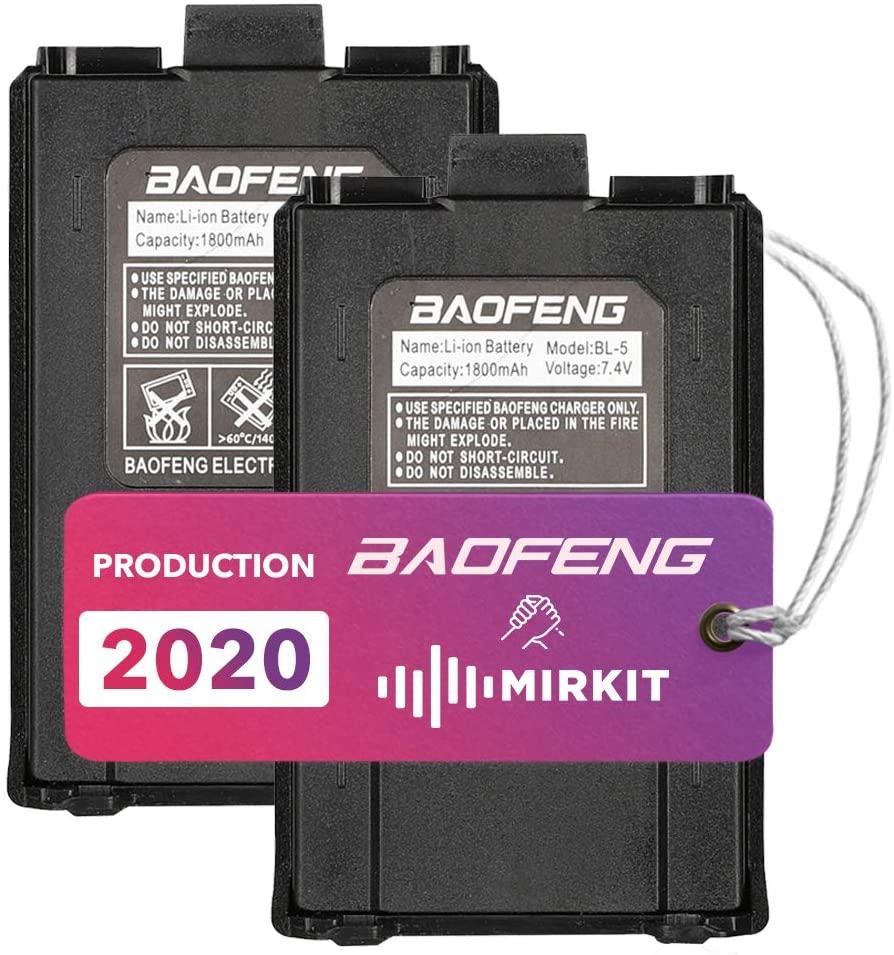2 pcs Baofeng Batteries 7.4V 1800mAh Big Capacity Li-ion for DM-5R UV-5R UV-5RE BF-F8HP UV-5R V2+ Plus UV-5RTP Series Two Way Radio by Mirkit Store USA Warranty
