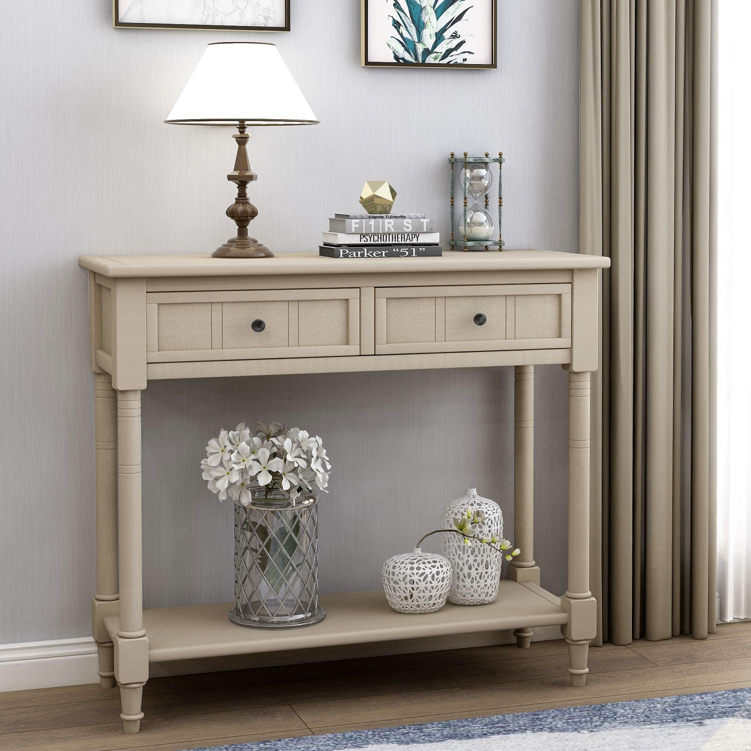Goujxcy Hall Finish Accent Console Table,Wooden Sofa Table with 2 Drawers and Bottom Shelf for Bedroom Decor (Retro Grey)
