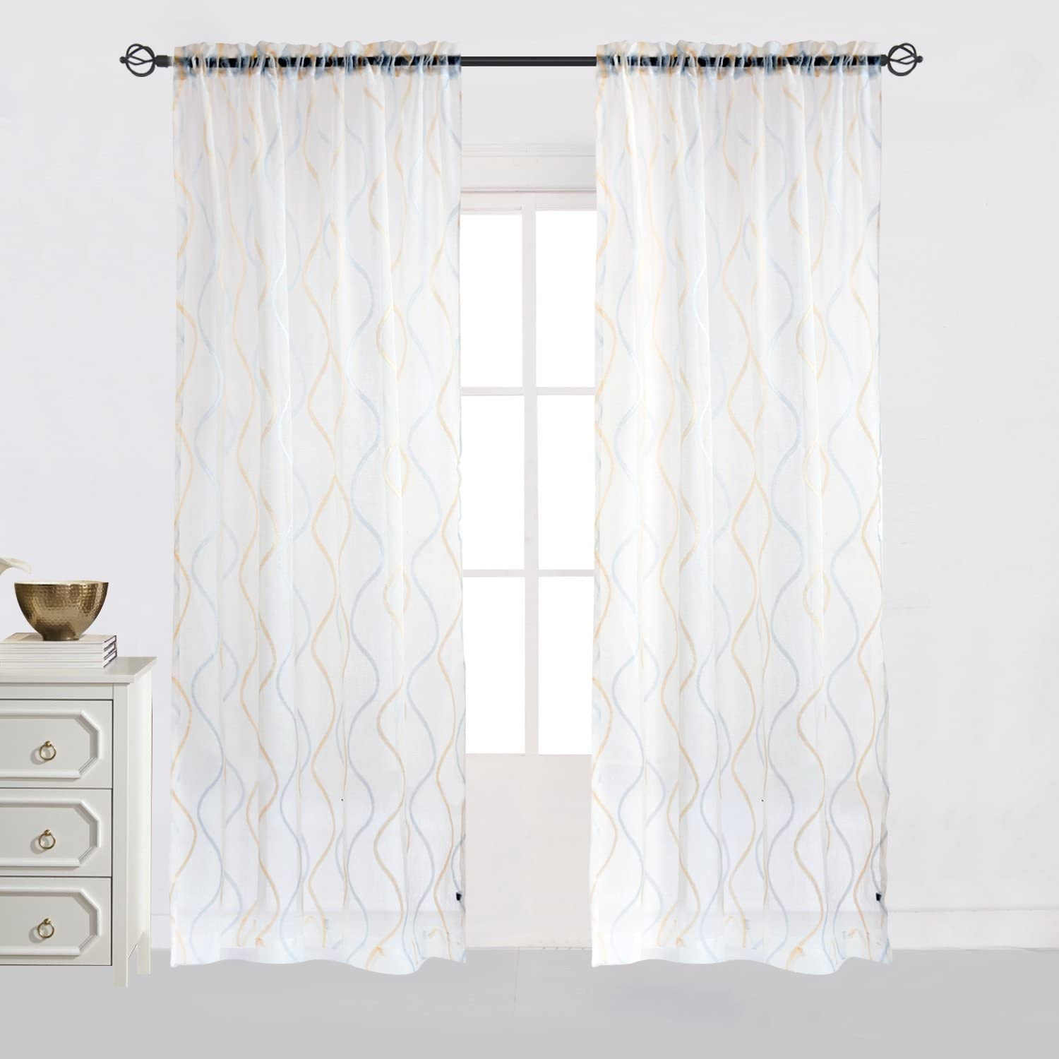 Cheery Home Wave Sheer Curtains Voile Panels Drapes Rod Pocket for Living Room,52 Inch by 63 Inch,Blue and Gold
