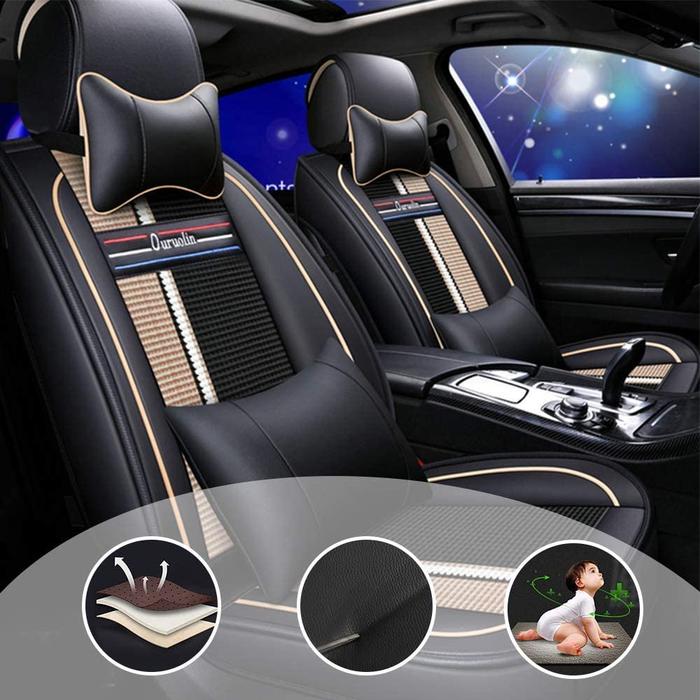 changlaiwang Waterproof PU Leather 5-Seats Car Seat Covers Full Set Universal for Sedan SUV Truck Fit for Chevy Cobalt with Headrest and Lumbar Cushion Black and Beige