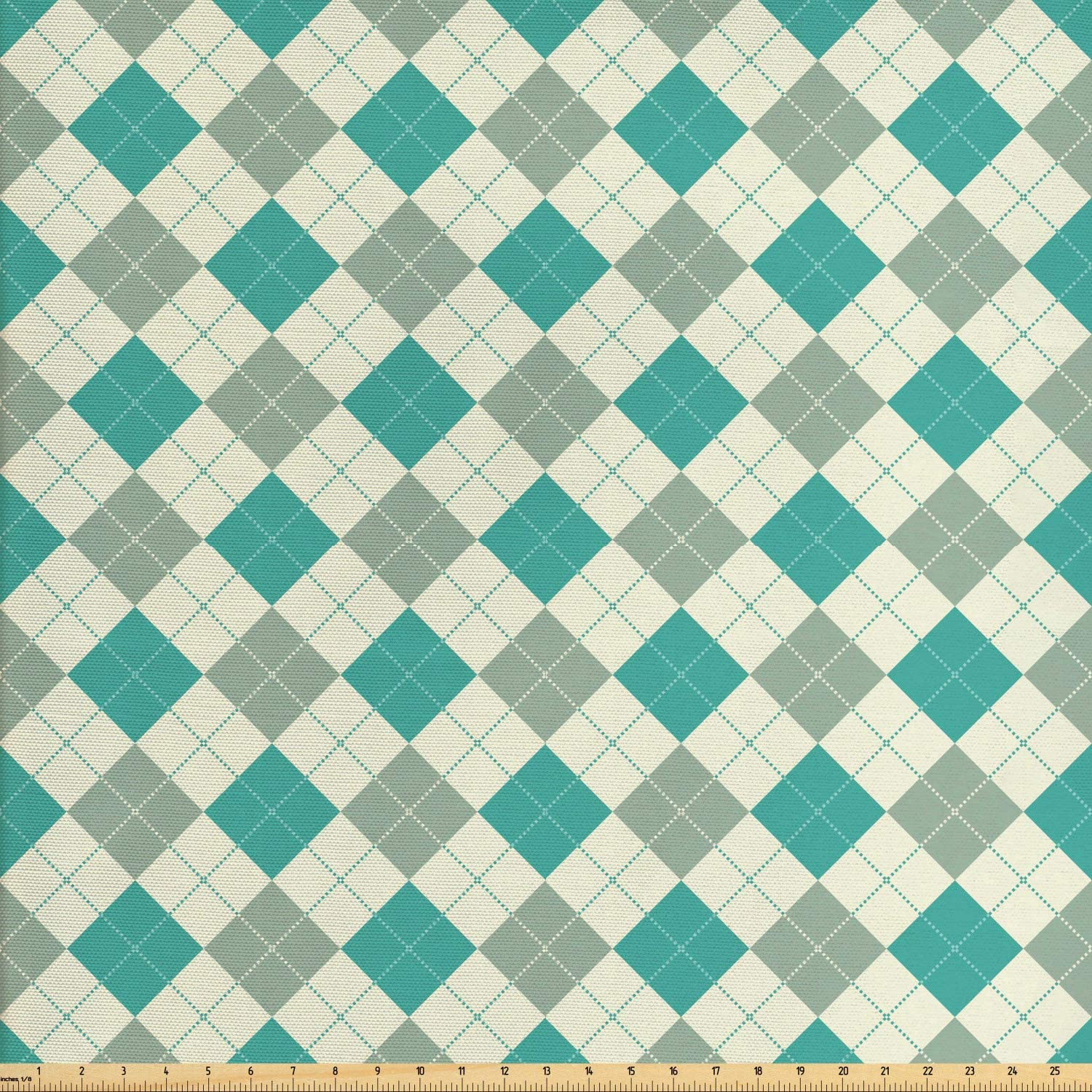 Ambesonne Plaid Fabric by The Yard, Traditional Gingham Like Pattern of Diagonal Squares and Dotted Lines, Decorative Fabric for Upholstery and Home Accents, 1 Yard, Dark Seafoam and Ivory