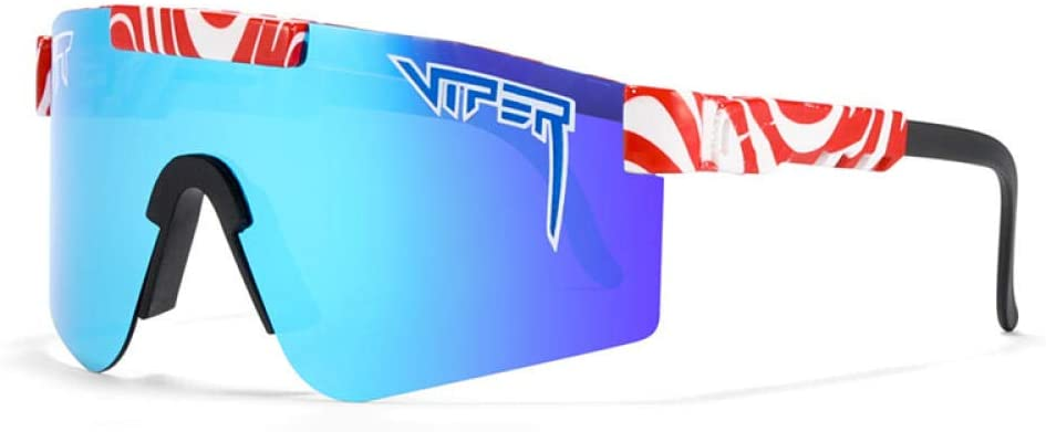 TGHYJ Original Pit Viper Polarized Bike Sunglasses for Cycling Men Women Sports Fishing Golf Baseball Running Glasses Double Wide Polarized Mirrored Blue Lens Tr90 Frame Uv400 Protection