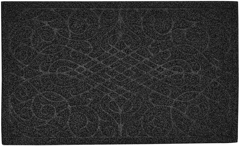 Superio Black Victorian Gate Coir Doormat– Indoor and Outdoor Entry Floor Mat – 18x30