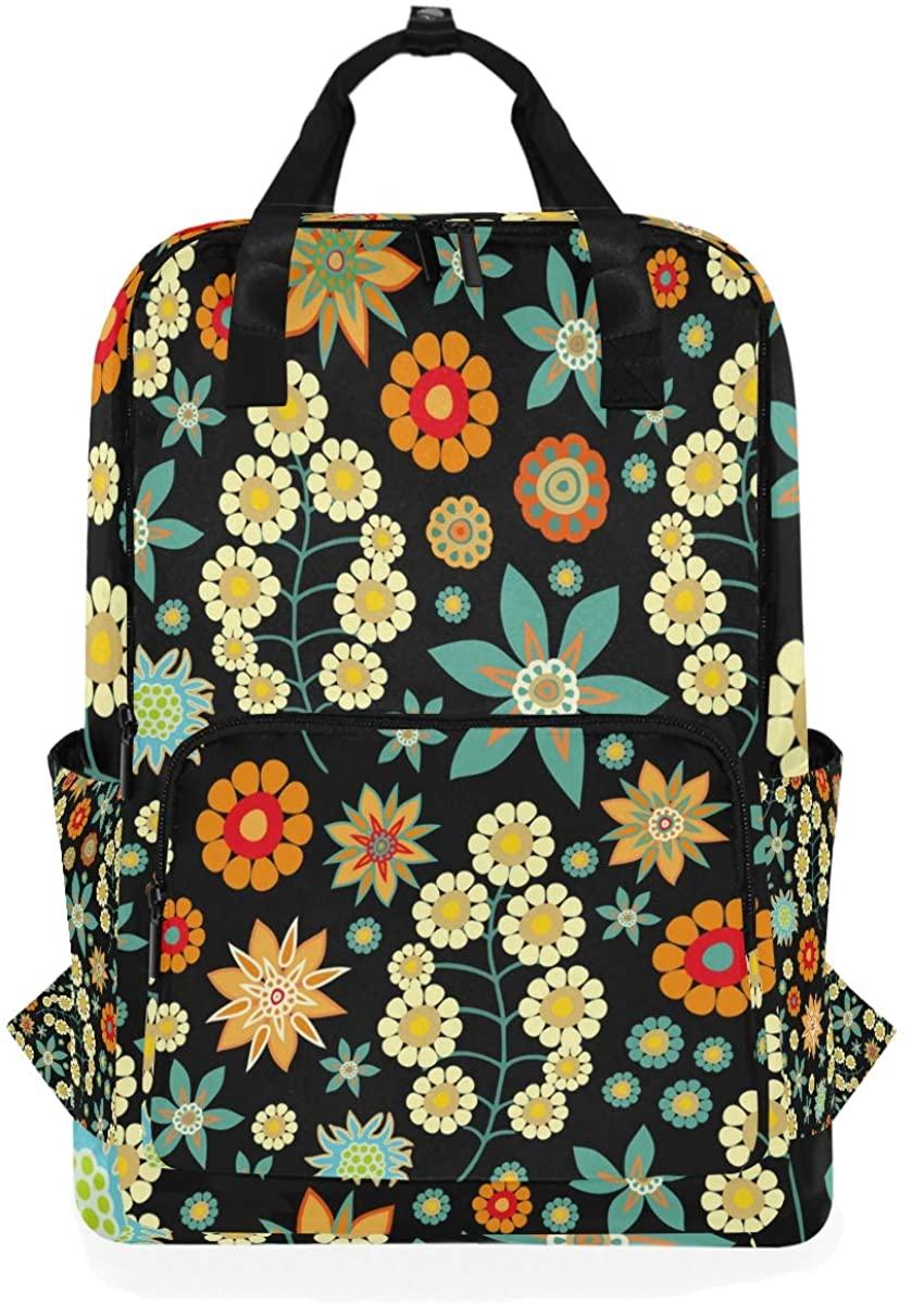 Kaariok Floral Flower Scandinavian Backpack School Travel Daypack Laptop College Bookbag 14 Inch Doctor Bag