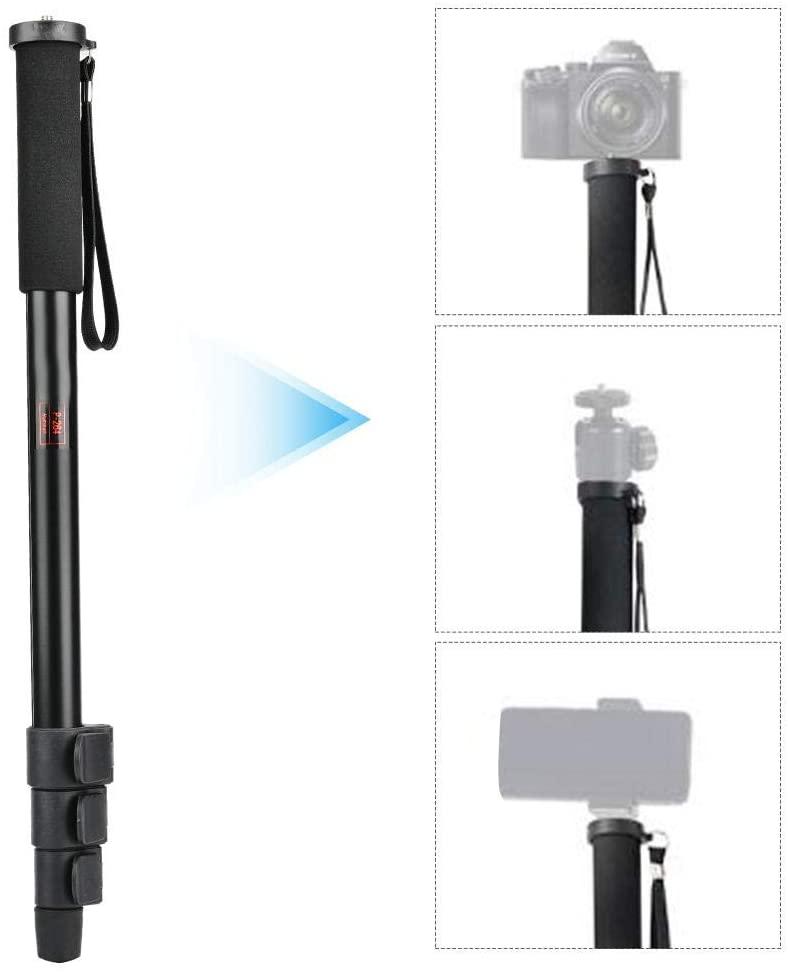 Qioni Camera Monopod, 4-Section Tube Black Anti-Slip Monopod, for SLR Camera Camera Selfie Stick Outdoor Camera Accessory Mobile Phone(P264)