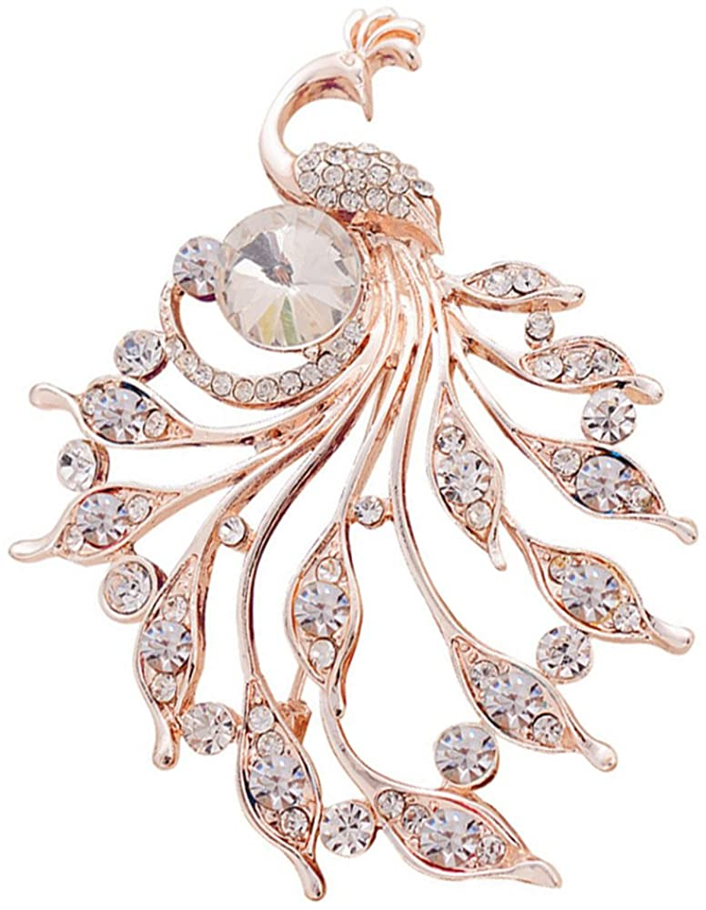 Peacock Brooch Pin Unique White Style Delicate Rhinestone Rose Gold Plated Cocktail Lover Gift