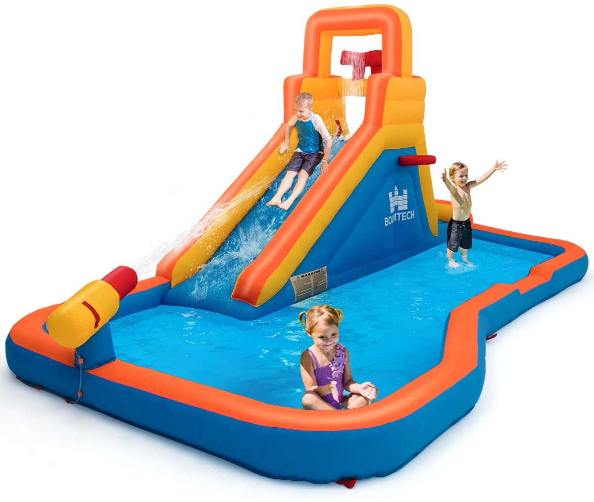 Costzon Inflatable Water Slide, 5-in-1 Pool Bouncer w/ Climbing Wall, Basketball Hoop, Pouring Sink, Water Cannon, Including Oxford Carry Bag, Repairing Kit, Stakes, Hose (Without Blower)