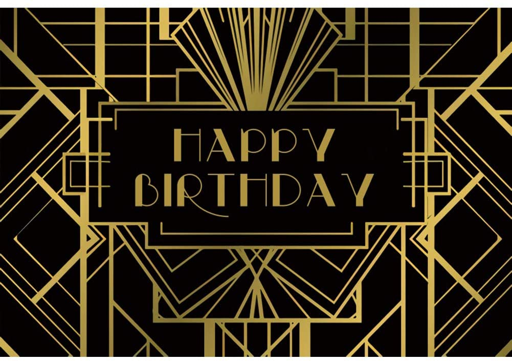 YongFoto 10x8ft Happy Birthday Backdrop Great Gatsby Theme Party Photography Background Black and Gold Geometric Art Event Decoration Party Banner Kids Adult Portrait Photo Studio Props Wallpaper