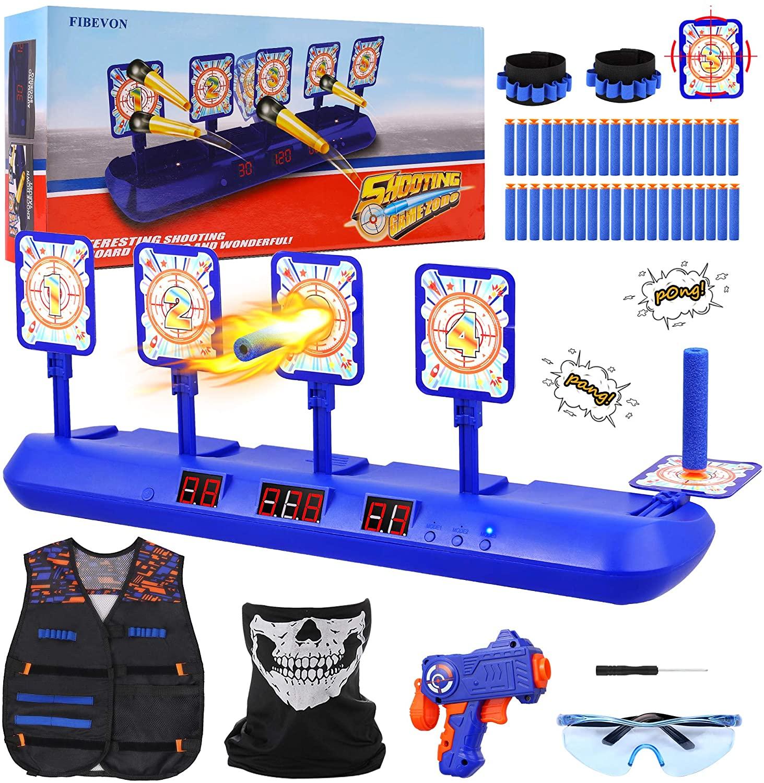 Fibevon Electronic Shooting Target for Nerf Gun, Kids Practice Targets Kit w/Blaster, Vest, Glasses, Bandanas, Wristbands and Foam Darts, Ideal Toy Gift for Boys, Girls Aged 5-13