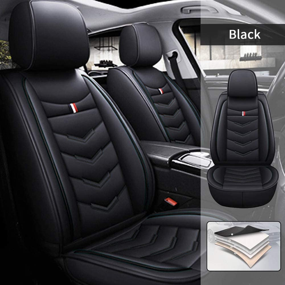 Car Seat Covers for Audi Q3 2015-2017 5 Seats Full Set Car Seat Cushions PU Leather Seat Protector Black