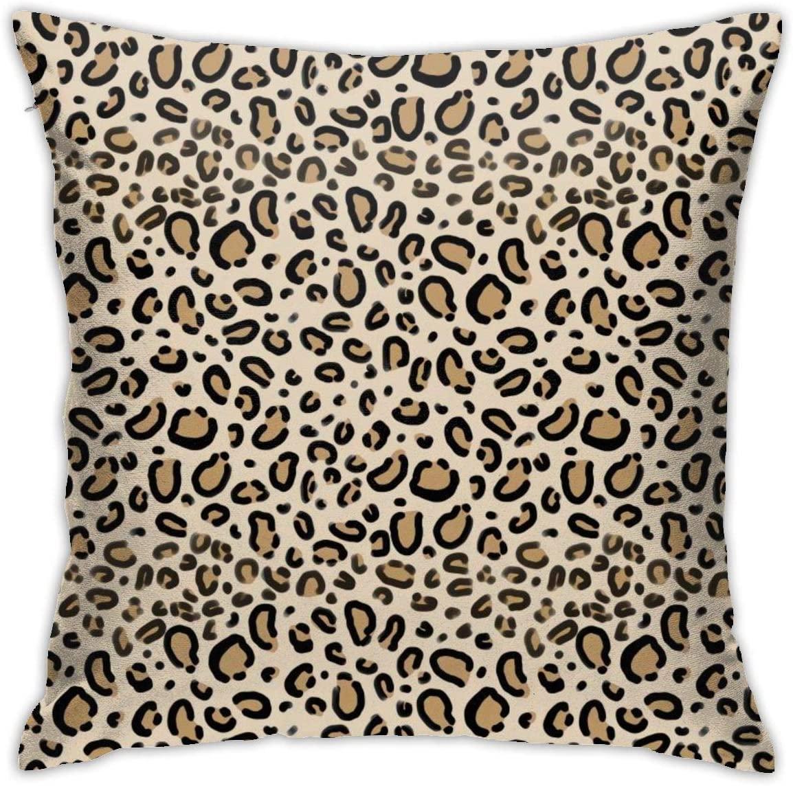 ~ Leopard Print Tan Natural Animal Cheetah Safari Print Throw Pillow Case Soft Pillow Case for Decorative Bedroom/Livingroom/Sofa/Farm House Cushion Covers Couch Pillow 18x18 Inch 45x45 cm