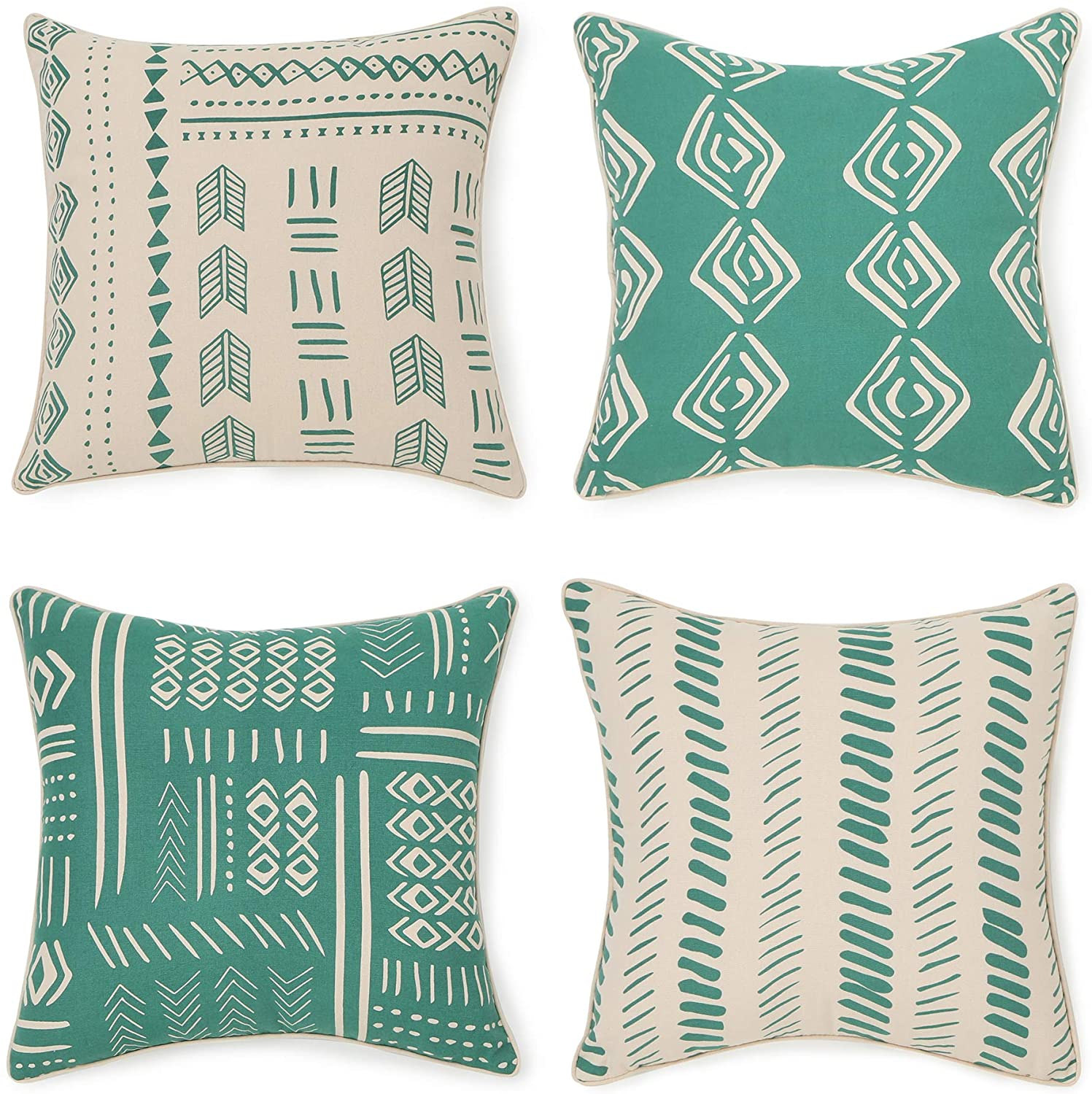 REDEARTH Printed Throw Pillow Cushion Covers-Woven Decorative Farmhouse Cases Set for Couch, Sofa, Bed, Chair, Dining, Patio, Outdoor, car; 100% Cotton (18x18; Green1) Pack of 4