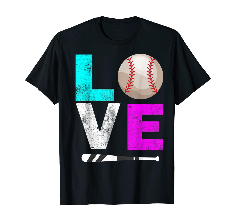 Girls Love Softball Shirt Mom Women Distressed Ball Gift Tee