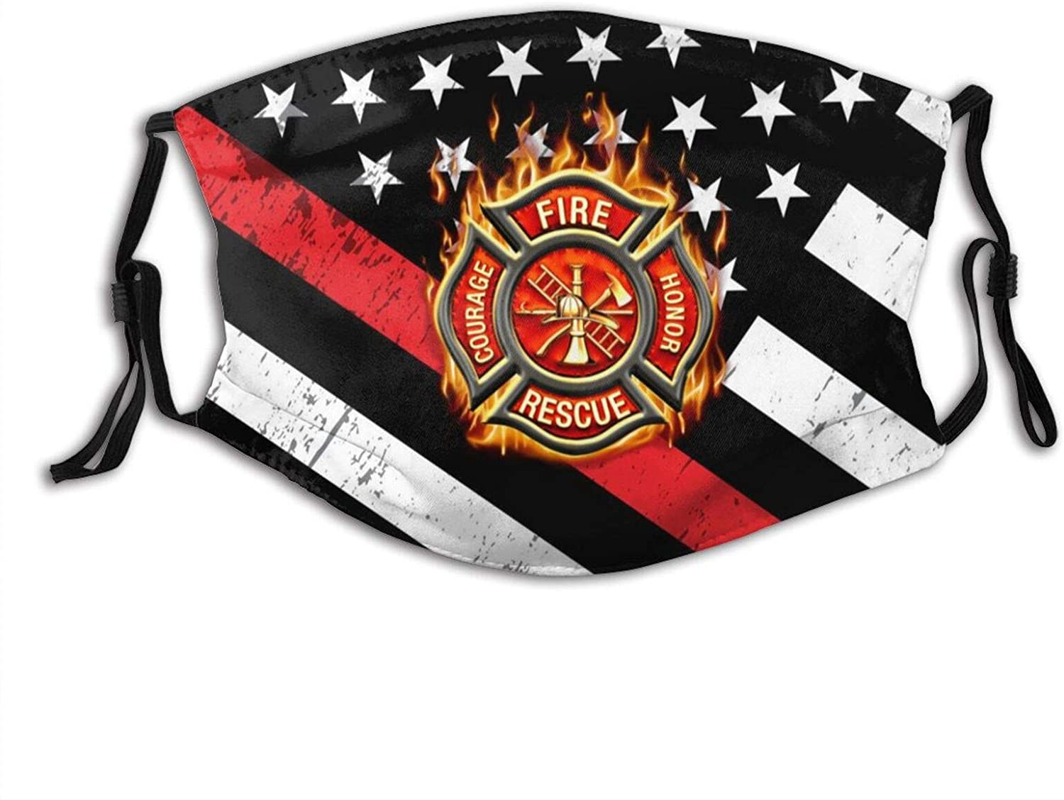 Thin Red Line Firefighter Face Mask Fashion Dustproof Scarf Breathable Reusable Adjustable Washable Bandana