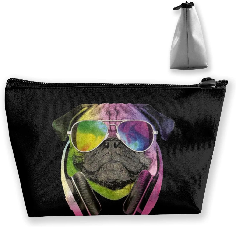 NiYoung Cute Cosmetic Bag for Girls Dj Pug Black Fashion Purse Makeup Bag Storage Bag