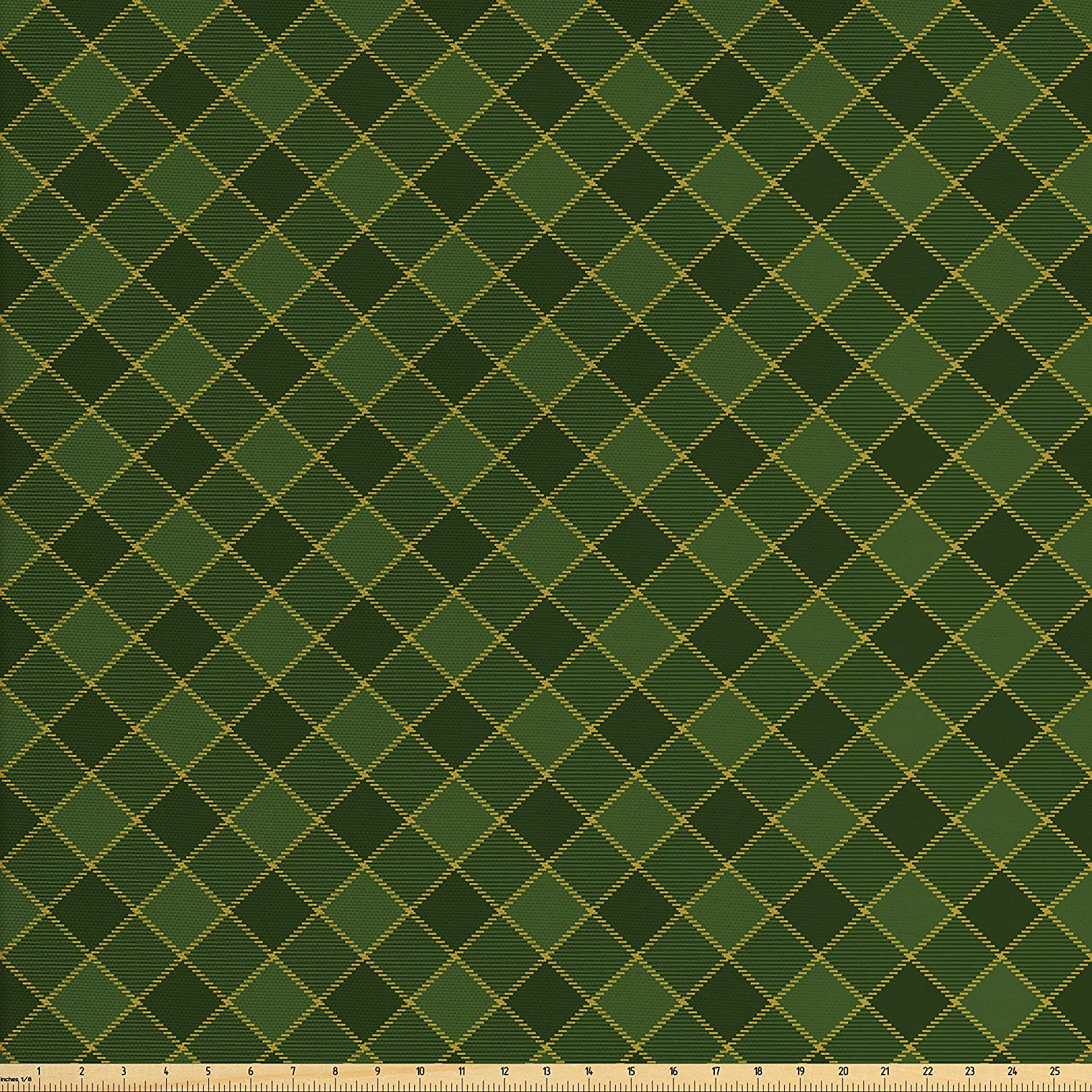 Lunarable Green Fabric by The Yard, Traditional Old Fashioned Argyle Pattern Retro Style Plaid, Decorative Fabric for Upholstery and Home Accents, Hunter Green Forrest Green Yellow