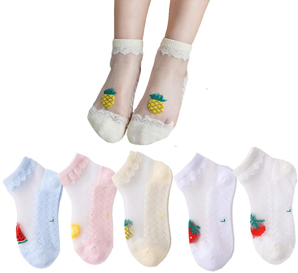 5Pairs Baby Girls Toddler Fruit Print Summer Lace Socks Mesh Ultra Thin Sheer Socks
