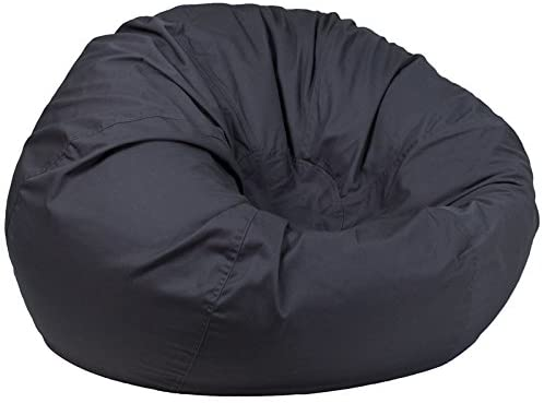 Emma + Oliver Oversized Solid Gray Bean Bag Chair