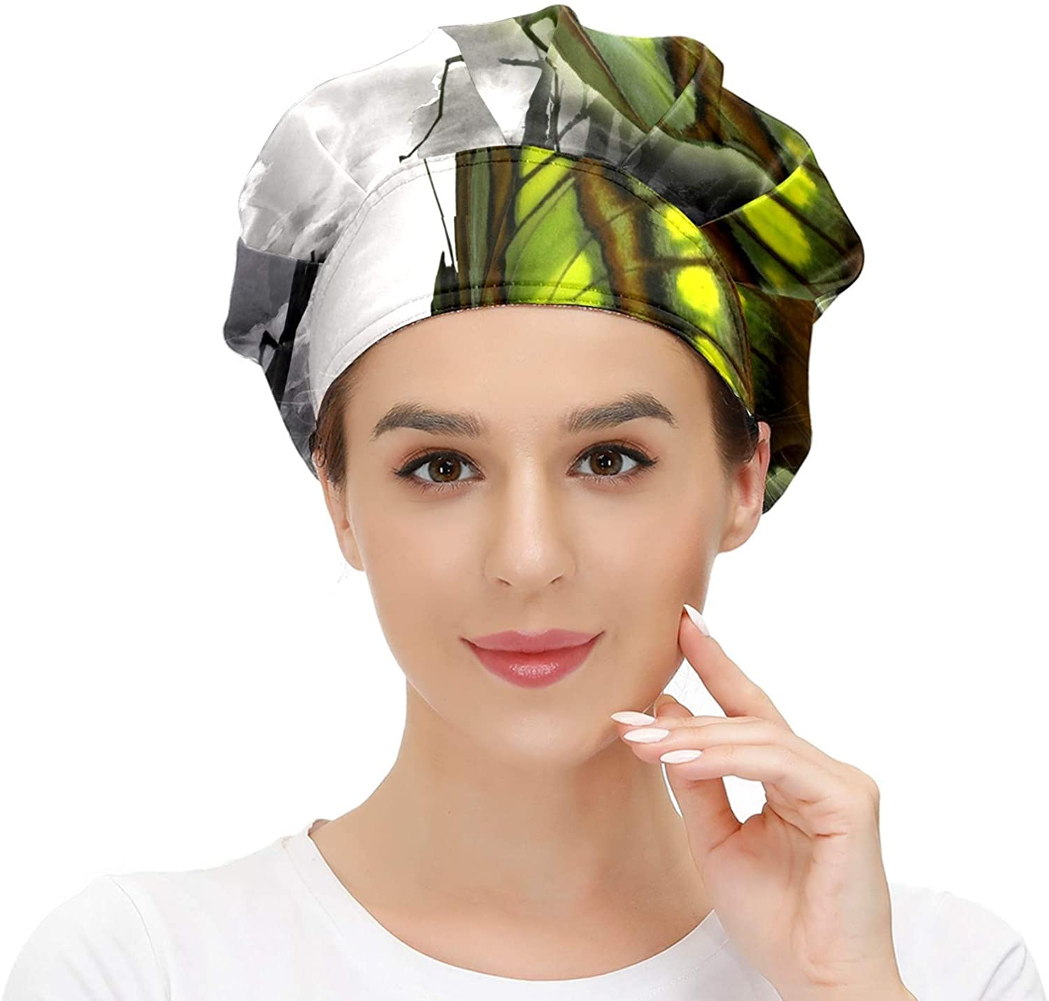Women Cap Working Hat with Sweatband Butterfly Green Elastic Adjustable Working Caps for Woman Men One Size Working Head Scarf Multi Color