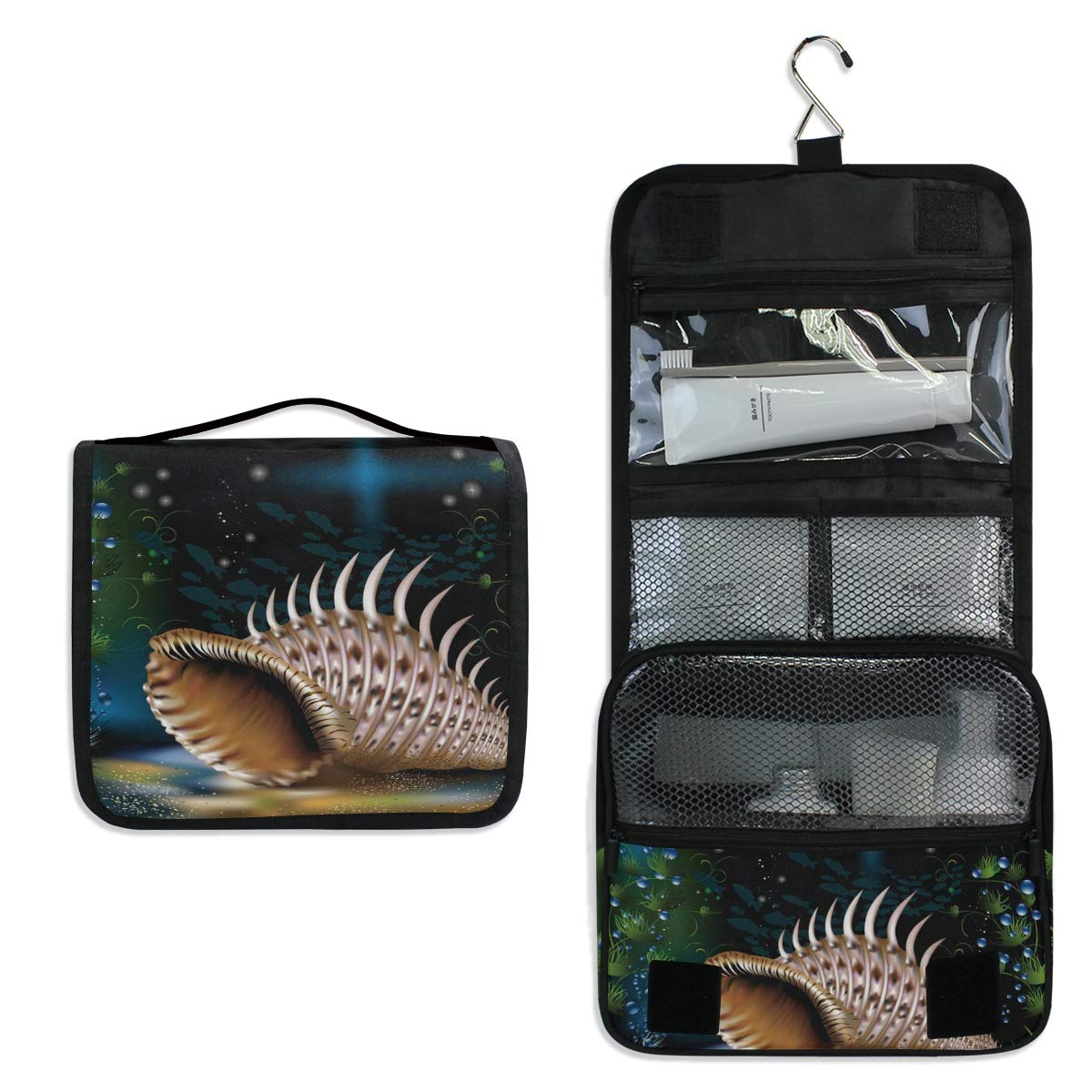 Sea Creature Toiletry Bag Multifunction Cosmetic Bag Portable Makeup Pouch Travel Hanging Organizer Bag for Women Girls