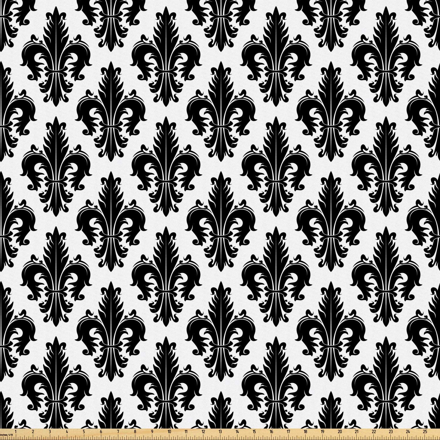 Ambesonne Fleur De Lis Fabric by The Yard, Monochrome Royal Lily Pattern Victorian Inspiration Ornamental Vintage Design, Microfiber Fabric for Arts and Crafts Textiles & Decor, 1 Yard, Black White