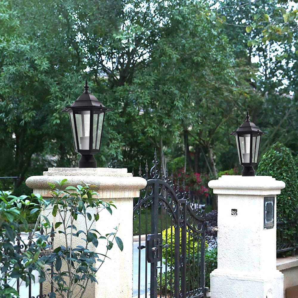 Outdoor Lantern Lamp Fixture with Post Pole Lamp Shade for Decor Garden Patio Driveway Yard Black