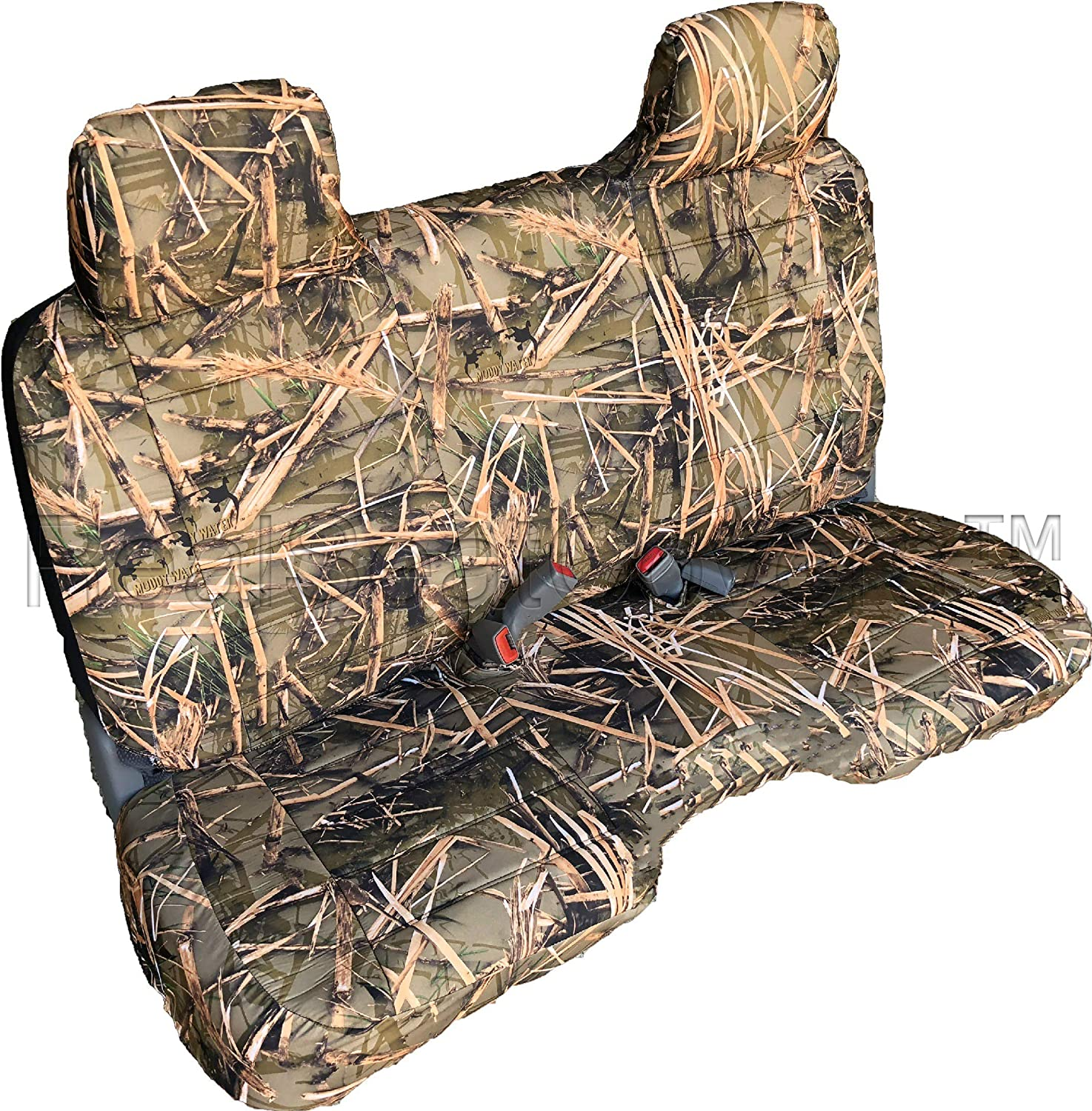 RealSeatCovers 3 Layer Seat Cover for 1993 Toyota Pickup Front Bench 8mm Thick A25 Molded Headrest Small Notched Cushion (Muddy Water Camo)