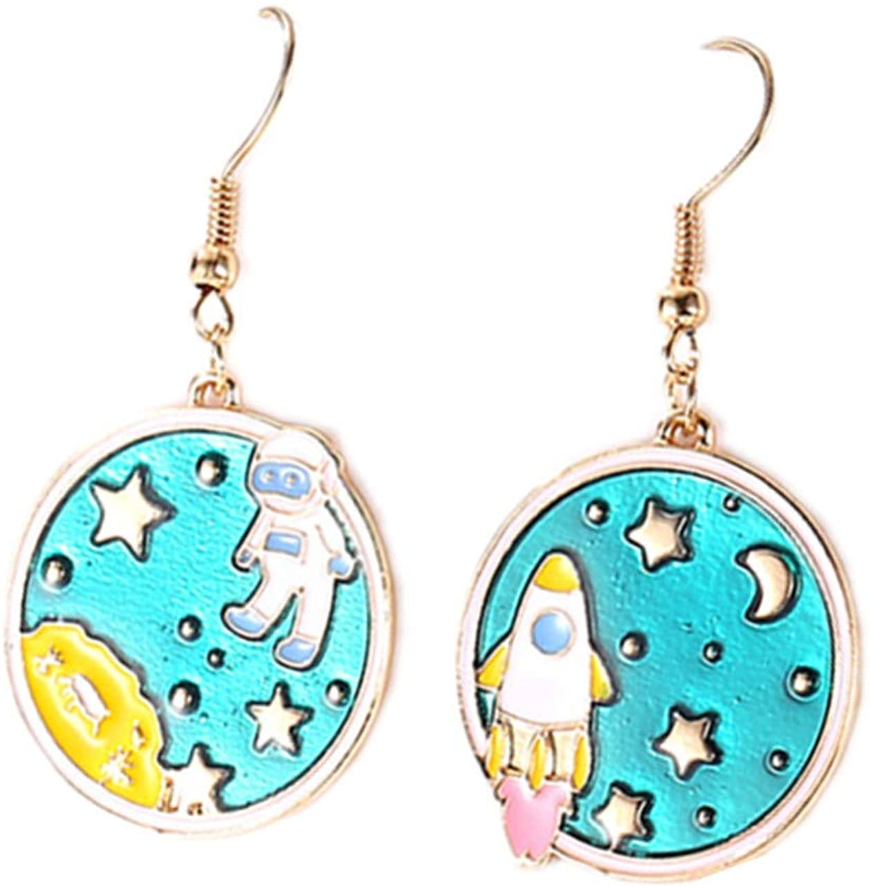 AB Style irregular the Astronaut Spaceman and Rocket Earrings Fluorescent Blue aviator Stars 18K Gold Plated Dangle Earring