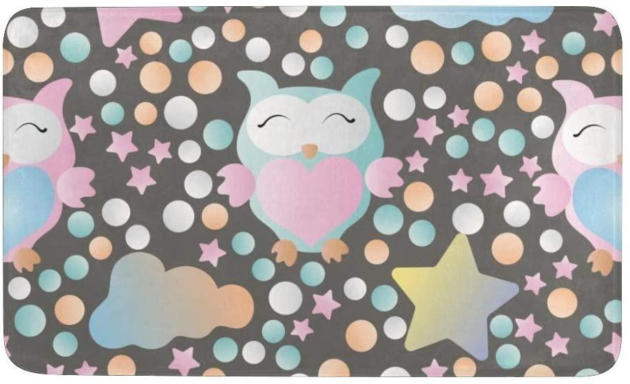CUXWEOT Indoor Outdoor Doormat Non-Slip Backing Ultra Absorbent Mud Galaxy Owl Star Door Mat Home Office Decorative Entry Rug Garden Kitchen Mats 23.6 x15.7 Inch