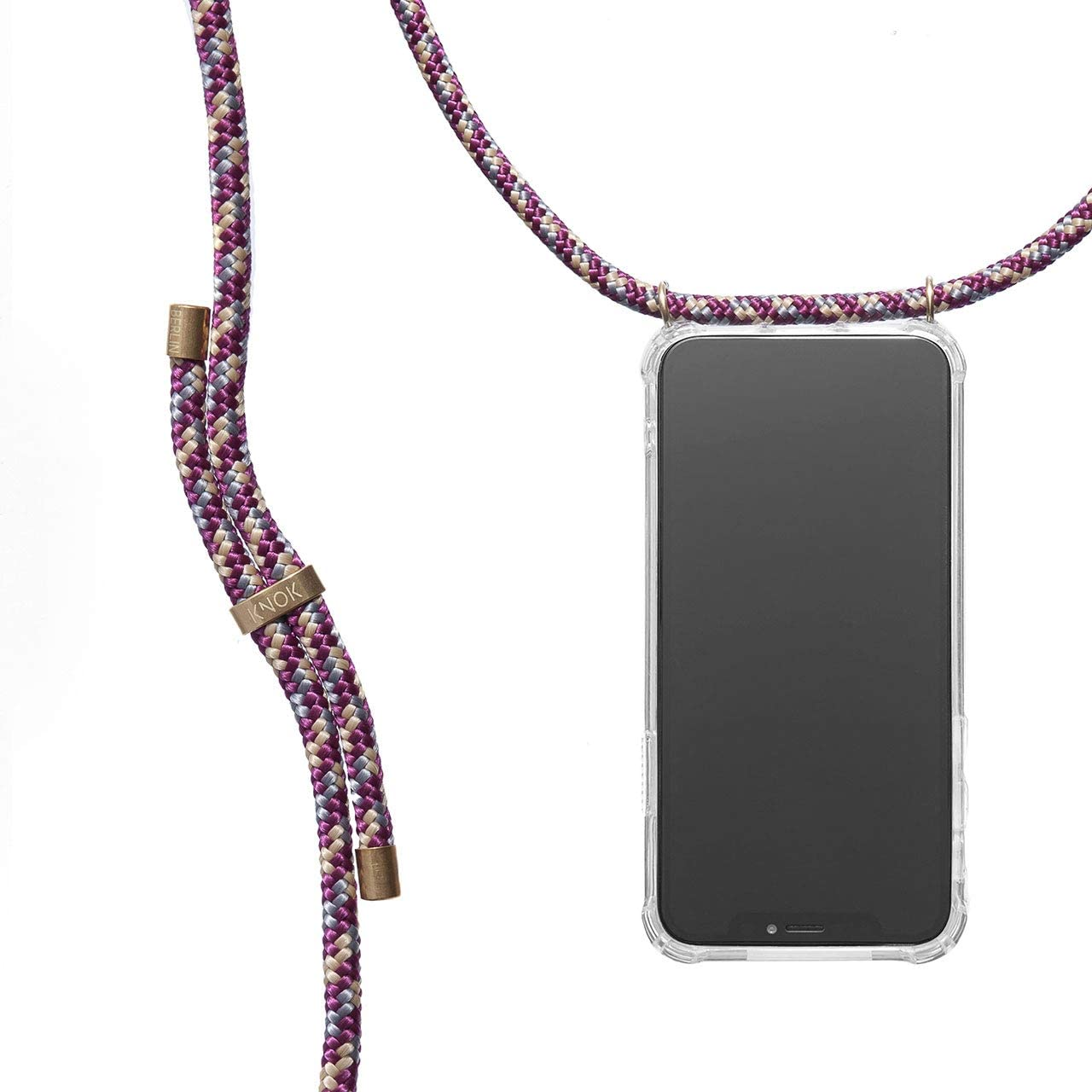 KNOK Crossbody Phone Case for iPhone 11 Pro - Mobile Neck Holder Phone Case with Strap - Lanyard Phone Holder - Phone Necklace (iPhone 11 Pro, Bordeaux)