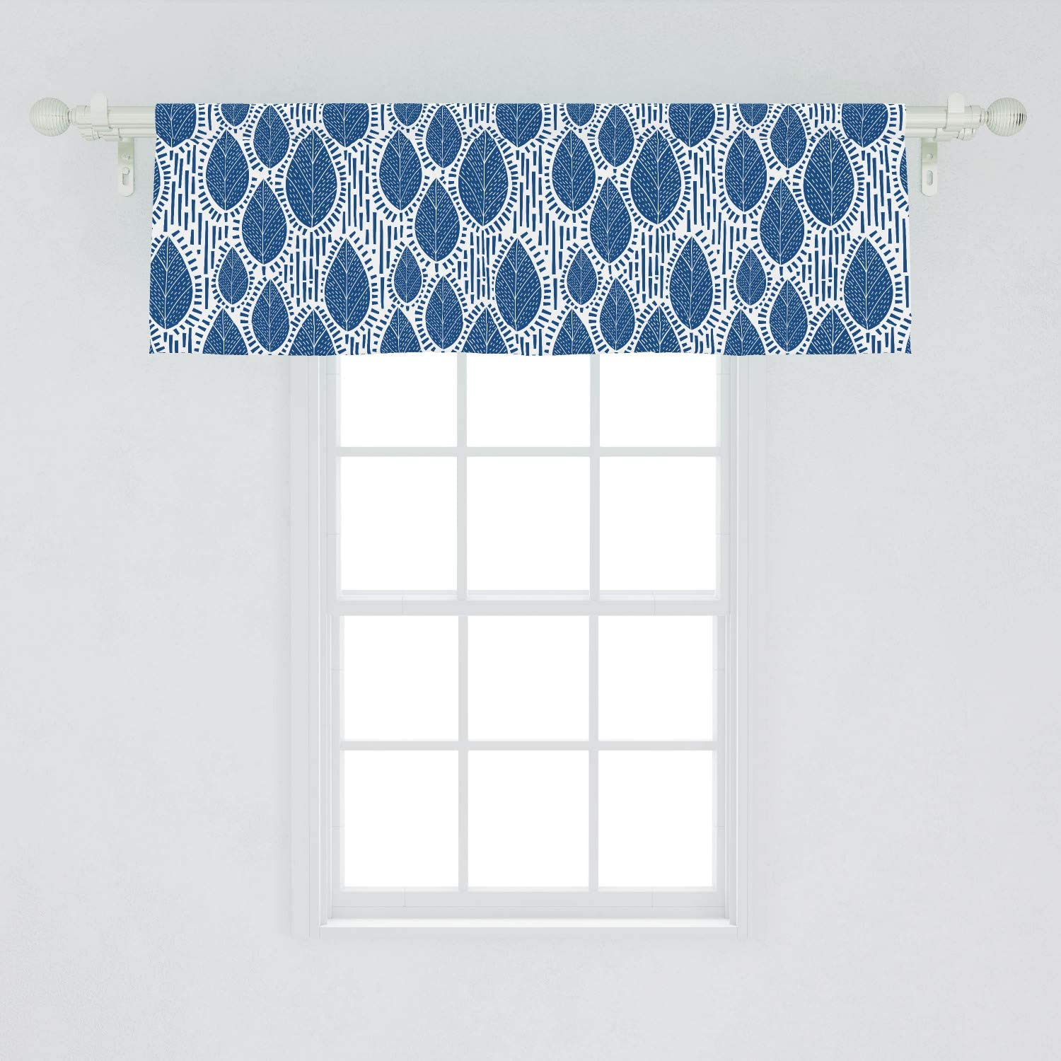 Lunarable Leaves Window Valance, Scandinavian Inspired Design of Leafy Motifs with Strokes and Stripes, Curtain Valance for Kitchen Bedroom Decor with Rod Pocket, 54