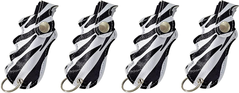 Pepper Defense 4-Pack PD-2Z Pepper Spray Keychain w/Finger Grip Holster for Aim & Accuracy - Maximum Strength 10% OC Police Grade Formula - Emergency Non Lethal Self Defense (Zebra (4-Pack))