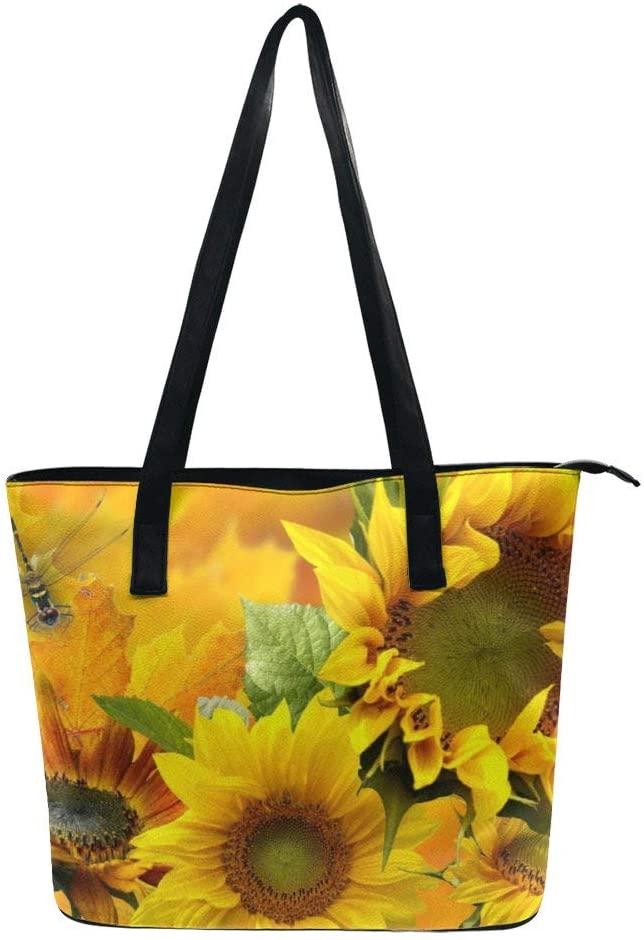 NiYoung Yellow Sunflower Handbags for Women PU Leather Tote Shoulder Bag Waterproof Big Capacity Zippered Shoulder Handbag for Travel Work School Shopping Beach
