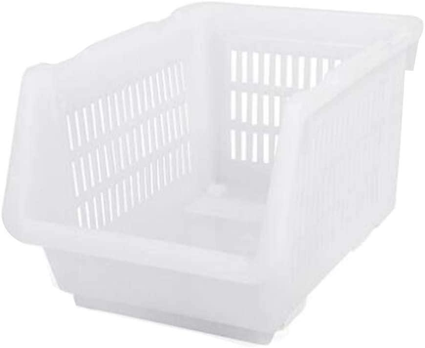 Set of 2, 32x23x20cm White Stackable Storage Box Bin Storage Basket Organizer