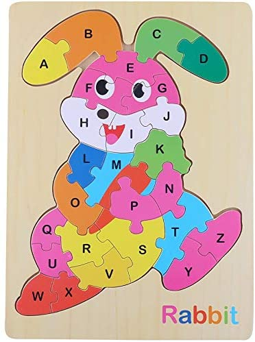 Alphabet Early Years 3+ Educational Learning Wooden ABC Puzzle Bunny Jigsaw Developmental Construction Toy Great Gift Idea