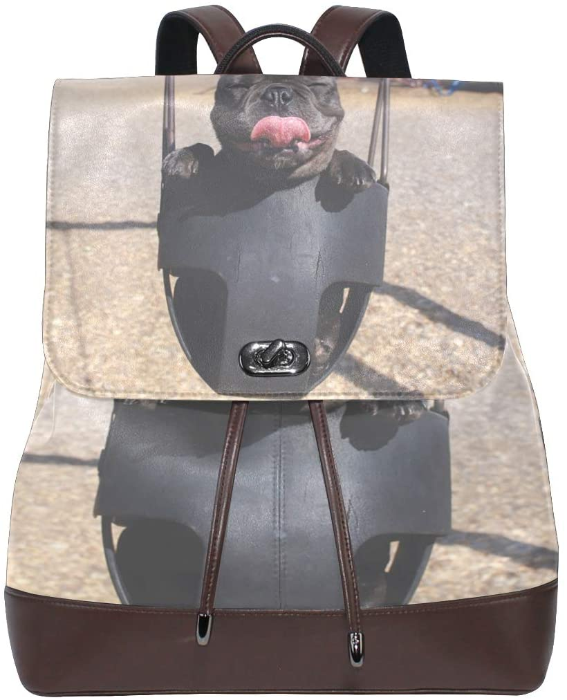 Leather Backpack Black Puppy Dog Pug Womens Genuine Bookbag School Purse Shoulder Bag