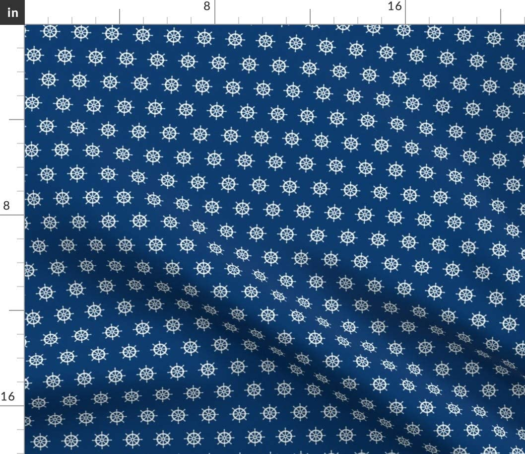 Spoonflower Fabric - Boat White Navy Sailor Nautical Sailing Wheels Wheel Printed on Petal Signature Cotton Fabric by The Yard - Sewing Quilting Apparel Crafts Decor