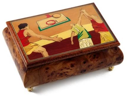Sports Theme Wood Inlay:Basketball - Many Songs to Choose - Collectible Musical Jewelry Box Stand 8y Me