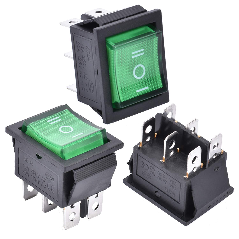 APIELE 3Pcs 3 Position Rocker Toggle Switch DPDT 6 Pin AC 125V/10A 250V/16A ON-Off-ON with LED Light KCD2-203N (Green)