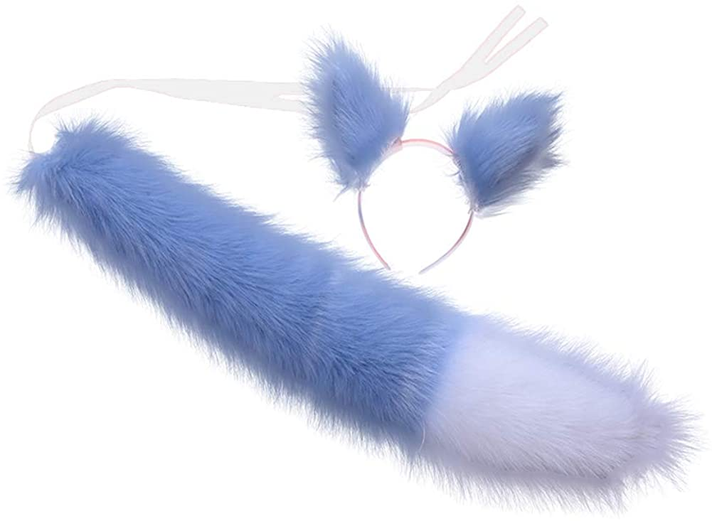 HAOAN Faux Fur Wolf Fox Tail and Clip Ears Set Halloween Cosplay Costume Accessories