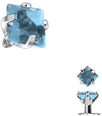 BodyJewelryOnline Aqua Square Jewel Internally Threaded Dermal Top 2mm