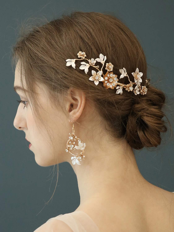 AW BRIDAL Flower Wedding Hair Clip Rhinestone Bridal Comb Barrette Pearl Bridal Headpiece Vintage Wedding Accessories for Women