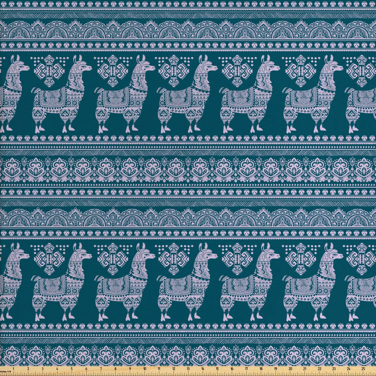 Ambesonne Ethnic Fabric by The Yard, Alpaca Llama South American Ornaments Animal Art Pattern, Decorative Fabric for Upholstery and Home Accents, 1 Yard, Dark Teal Pastel Purple
